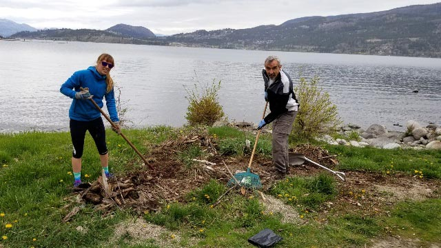 Okanagan Lake reached a maximum of 343.25 metres on June 11, 2017 and caused millions of dollars damage to public and private infrastructure all along the shoreline. KDKM clean up crew stepped up on Poplar Point.